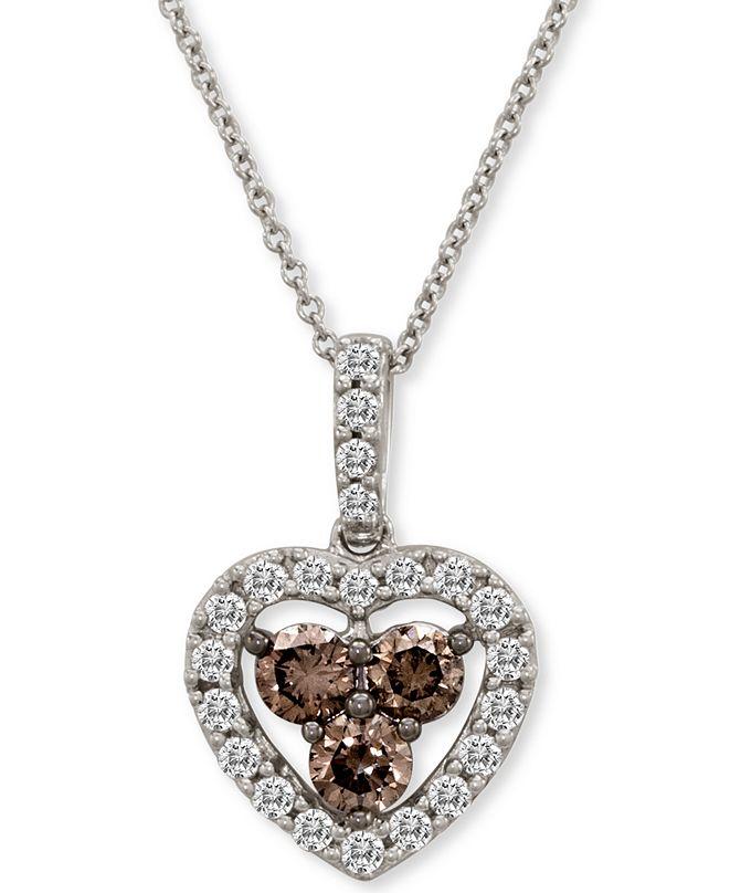 "Le Vian Diamond Heart 18"" Pendant Necklace (1 ct. t.w.) in 14k White Gold"