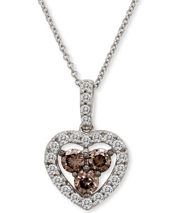 "Le Vian - Diamond Heart 18"" Pendant Necklace (1 ct. t.w.) in 14k White Gold"