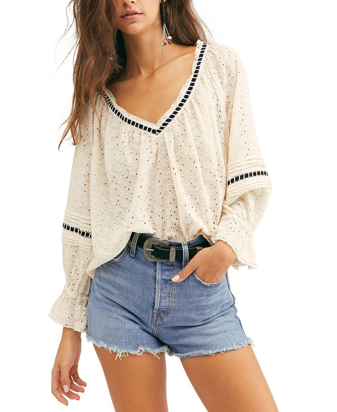 Free People Darcy Eyelet Top