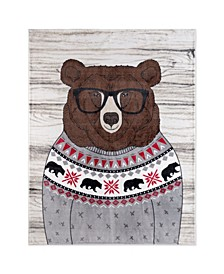 Inc Throw Flannel Printed Ribbed Bear