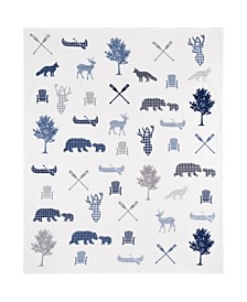 Inc Knitted Throw Ribbed Flannel Print Wildlife