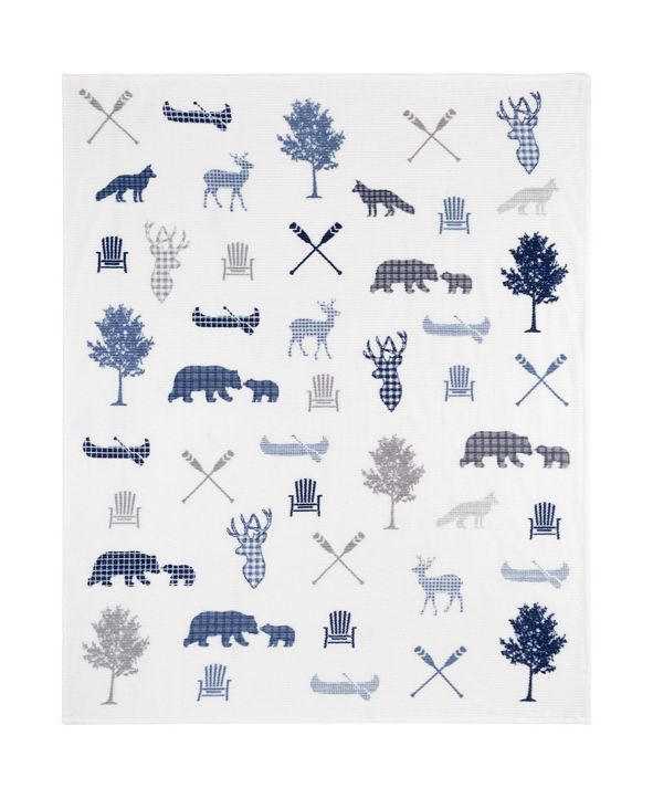 Safdie & Co Inc Knitted Throw Ribbed Flannel Print Wildlife