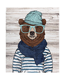 Safdie & Co. Inc Printed Ribbed Flannel Throws Chilly Bear