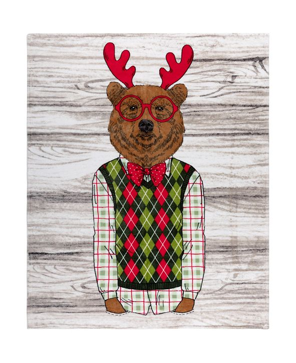 Safdie & Co Inc Knit Printed Flannel Xmas Throws Ribbed Festive Bear