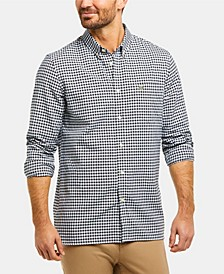 Men's Regular Fit Long Sleeve Gingham Check Oxford Shirt