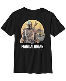 Star Wars The Mandalorian Big Boys The Child Sunset Portrait Short Sleeve T-shirt