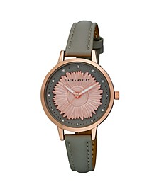 Women's Sunflower Dial Gray Polyurethane Strap Watch 38mm