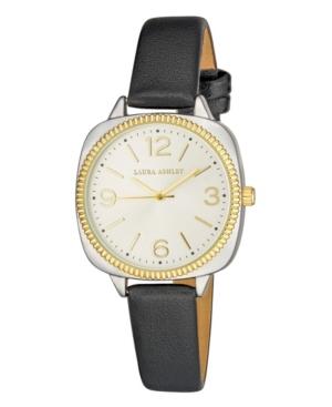Women's Cushion Case Sunray Dial Black Polyurethane Strap Watch 35mm