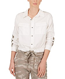 Camo-Stripe Drawstring-Hem Shirt