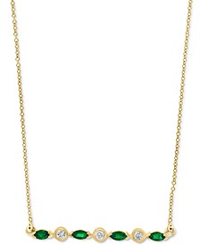 "LALI Jewels Emerald (1/3 ct. t.w), Certified Ruby (3/8 ct. t.w.) or Sapphire (3/8 ct. t.w.) & Diamond (1/10 ct. t.w.) 18"" Bar Necklace in 14k Gold, 14k Rose Gold or 14k White Gold"