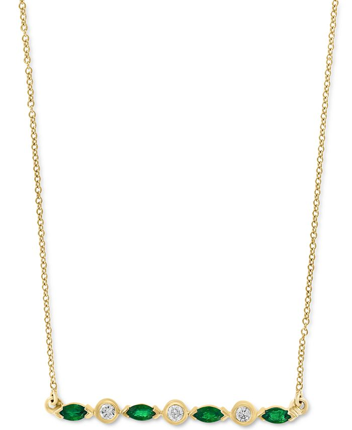 """Macy's - Emerald (1/3 ct. t.w), Certified Ruby (3/8 ct. t.w.) or Sapphire (3/8 ct. t.w.) & Diamond (1/10 ct. t.w.) 18"""" Bar Necklace in 14k Gold"""