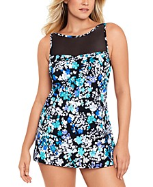 High-Neck Mesh-Insert Swimdress, Created for Macy's