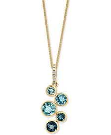 "LALI Jewels London Blue Topaz (1-3/8 ct. t.w.) & Diamond (1/20 ct. t.w.) 18"" Pendant Necklace in 14k Gold"