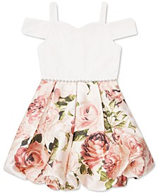 Toddler Girls Cold-Shoulder Floral-Print Bubble Dress