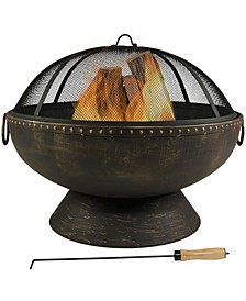 Outdoor Large Round Wood Burning Patio Fire Pit Bowl