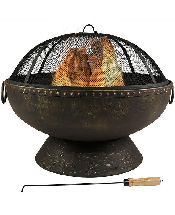 Sunnydaze Decor Outdoor Large Round Wood Burning Patio Fire Pit Bowl