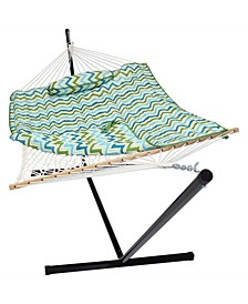 Cotton Rope Hammock with 12' Portable Steel Stand and Spreader Bar