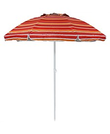 6' Vented Beach Umbrella with Tilt Function and UV 50 Sun Protection Striped