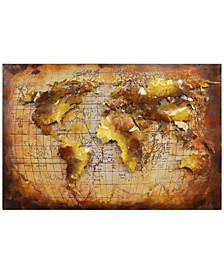 "Globe Mixed Media Iron Hand Painted Dimensional Wall Art, 32"" x 48"" x 2"""