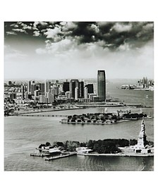 """New York Skyline A Frameless Free Floating Tempered Glass Panel Graphic Wall Art, 36"""" x 36"""" x 0.2"""""""