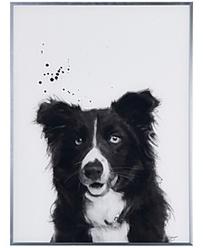 """Border Collie Pet Paintings on Reverse Printed Glass Encased with a Gunmetal Anodized Frame Wall Art, 24"""" x 18"""" x 1"""""""