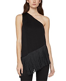 Asymmetrical Fringed-Hem Top