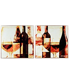 """Wine Bottles 1 and 2 on Reverse Printed Art Glass and Anodized Aluminum Frame Glass Wall Art, 32"""" x 32"""" x 1"""""""