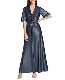 Twist-Front Metallic Gown