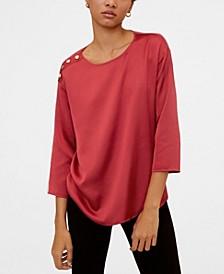Buttoned Shoulder T-Shirt