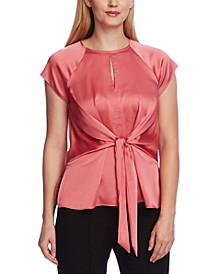 Women's Extend Shoulder Keyhole Blouse with Tie Front