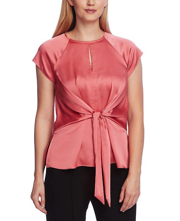 Vince Camuto Women's Extend Shoulder Keyhole Blouse with Tie Front