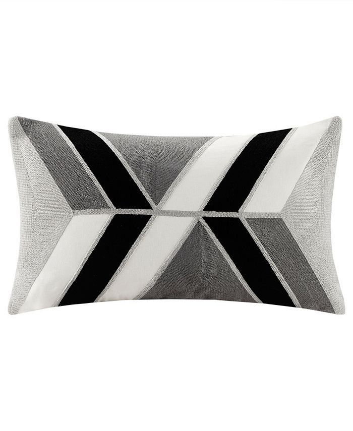 """INK+IVY - INK+IVY Aero 12"""" x 20"""" Embroidered Abstract Oblong Pillow"""