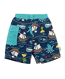 Baby Boy Pocket Trunks with Built-In Reusable Absorbent Swim Diaper