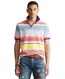 폴로 랄프로렌 Polo Ralph Lauren Mens Classic-Fit Striped Polo Shirt,French Blue Multi