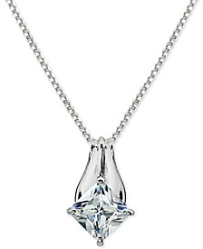 """Cubic Zirconia Square-Cut 18"""" Pendant Necklace in Sterling Silver, Created for Macy's"""