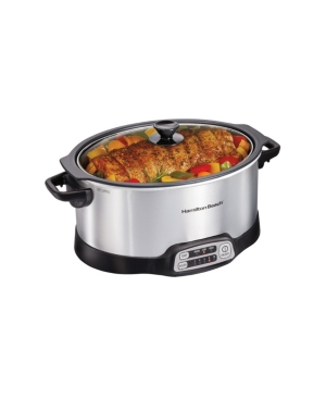Hamilton Beach Stovetop Sear; Cook programmable slow cooker has everything you need to create homemade, delicious meals on your schedule. Sear meat on your stovetop to lock in flavor, and then finish the meal in the slow cooker. Removable nonstick aluminum pot cooks directly on gas, electric, or ceramic stovetops and is oven safe. With more programming options than a Crock-Pot Smart-Pot slow cooker, mix and match temperature settings with your choice of cooking times. Choose from 2, 4, 6, 8, or