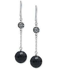Onyx & Cubic Zirconia Drop Earrings in Sterling Silver, Created for Macy's