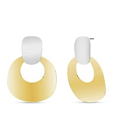 Women's Two-Tone Dangle Cutout Circle Post Earrings