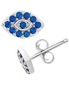 Sapphire Eye Stud Earrings (3/8 ct. t.w.) in 14k White Gold