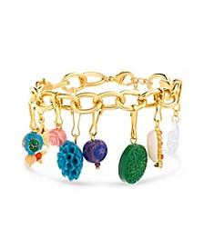 Goldtone Rainbow Multi Charm Chain Bracelet
