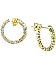 Cubic Zirconia Front & Back Hoop Earrings in 18k Gold-Plated Sterling Silver, Created for Macy's