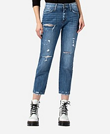High Rise Distressed Rigid Boyfriend Jeans