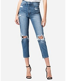 Super High Rise Distressed Mom Jeans