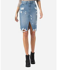 VERVET Heavily Distressed Pencil Skirt