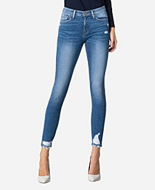 Mid Rise Cuffed Skinny Crop Jeans