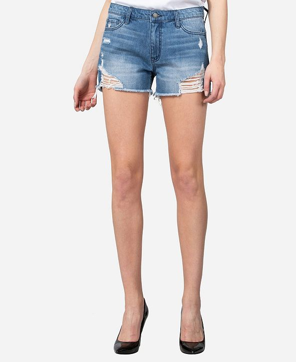VERVET High Rise Distressed Boyfriend Shorts