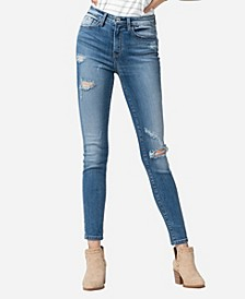 High Rise Distressed Skinny Ankle Jeans