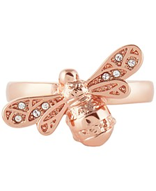 Swarovski Crystal Sparkle Bee Statement Ring in Rose Gold-Plated Brass