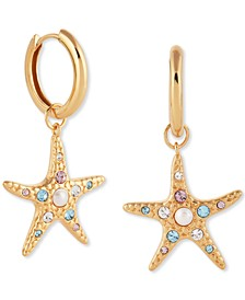 Imitation Pearl & Swarovski Crystal Starfish Drop Earrings in Gold-Plated Sterling Silver