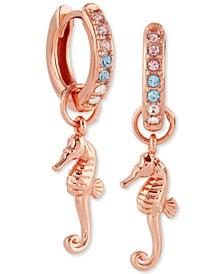 Swarovski Crystal Seahorse Huggie Hoop Drop Earrings in Rose Gold-Plated Sterling Silver